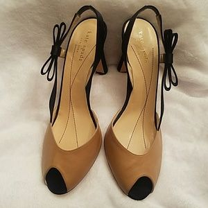 Kate Spade Black/Beige Leather Slingback